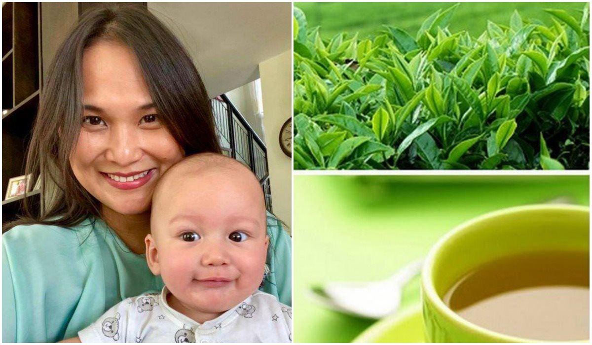 Dùng trà xanh để tắm trắng và trị rôm sảy cho bé